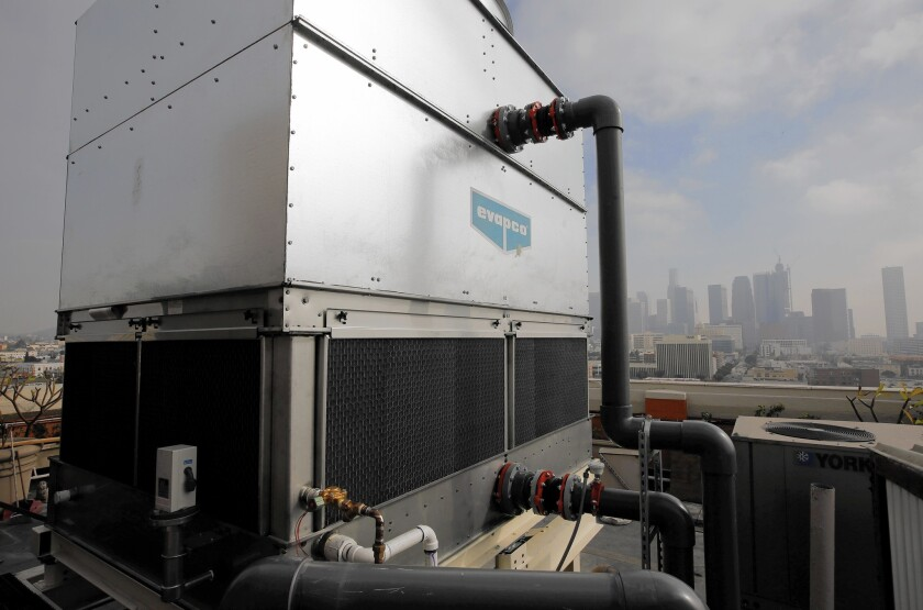 Most cooling towers are decades old and so inefficient that they consume as much water in a day as all the bathrooms, drinking fountains and kitchens in the buildings they cool.