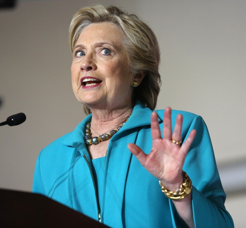 Democratic presidential nominee Hillary Clinton comments on the latest developments with the FBI and an investigation into her emails, during a campaign rally at the Dickerson Community Center in Daytona Beach, Fla., Saturday, Oct. 29, 2016.