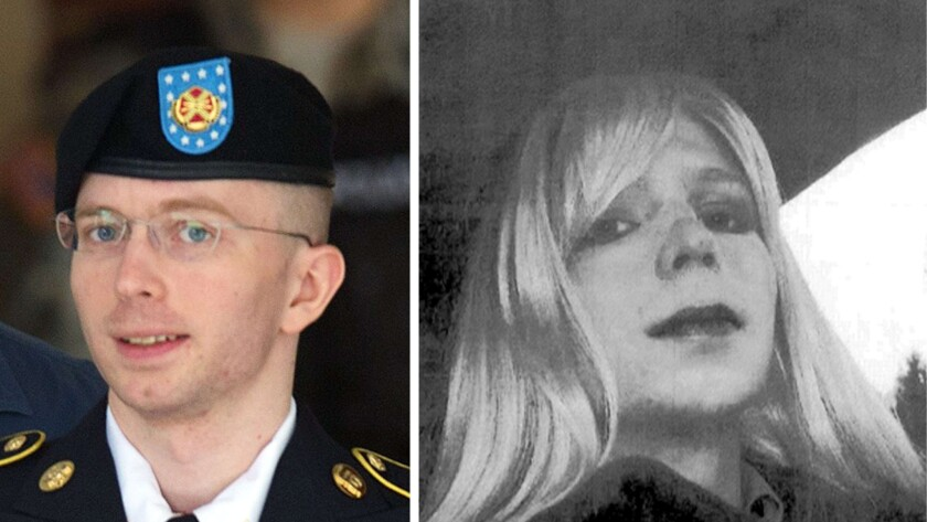 Bradley Manning, photographed leaving Ft. Meade in 2013; and Chelsea Manning in an undated photo.