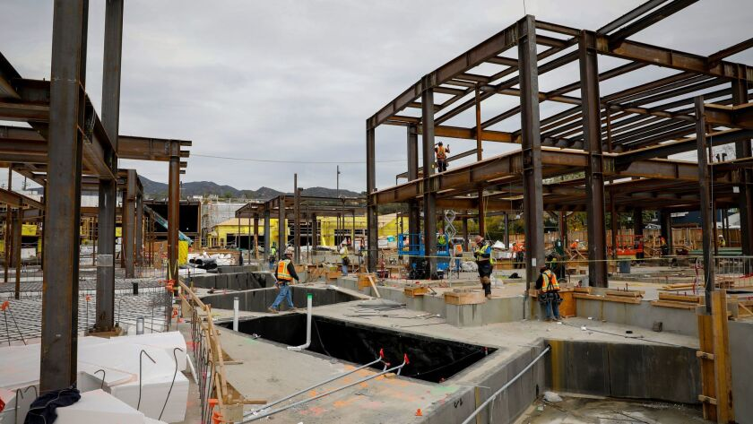 """PACIFIC PALISADES,CA --WEDNESDAY, MARCH 07, 2018--Amongst the steel framing, are deep """"tree wells,"""""""