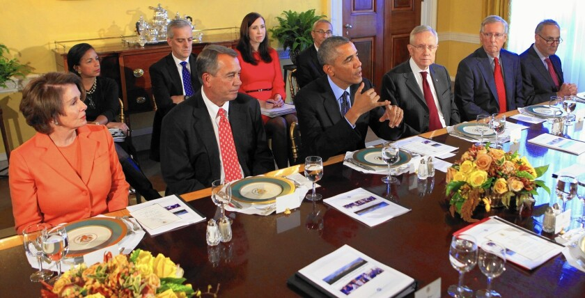 President Obama meets with congressional leaders at the White House. Congressional Republicans are in a position to blunt the administration's regulatory efforts on the environment while accelerating their own projects.