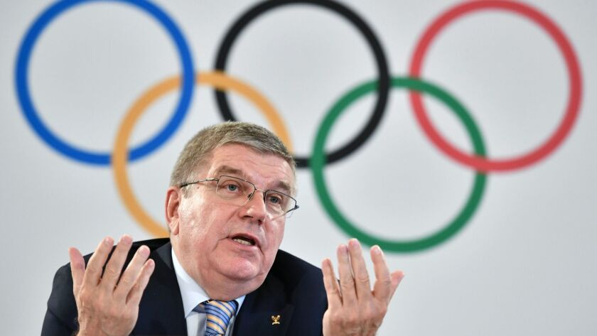 IOC president Thomas Bach speaks at a news conference Friday in Lausanne, Switzerland.