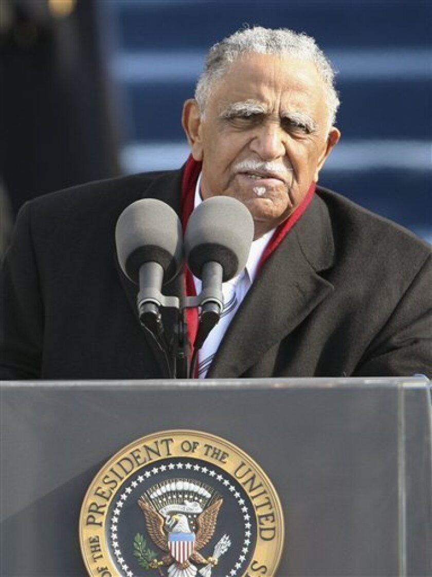 The Rev. Joseph E. Lowery gives the benediction at the end of the swearing-in ceremony at the U.S. Capitol in Washington, Tuesday, Jan. 20, 2009.  (AP Photo/Ron Edmonds)