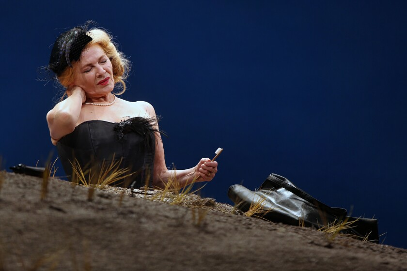 """LOS ANGELES, CA-MAY 14, 2019: Dianne Wiest acts as Winnie during a dress rehearsal of """"Happy Days,"""""""