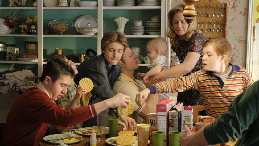 "Sawyer Barth, left, Santino Barnard, Christopher Paul Richards, Caleb Foot, an unidentified baby, Mary McCormack and Jack Gore play seven-tenths of an Irish American family in the new ABC sitcom ""The Kids Are Alright."""