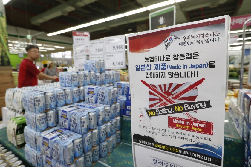 A supermarket in South Korea displays a sign in July announcing a boycott of Japanese products in retaliation for trade restrictions placed by Japan on South Korea.