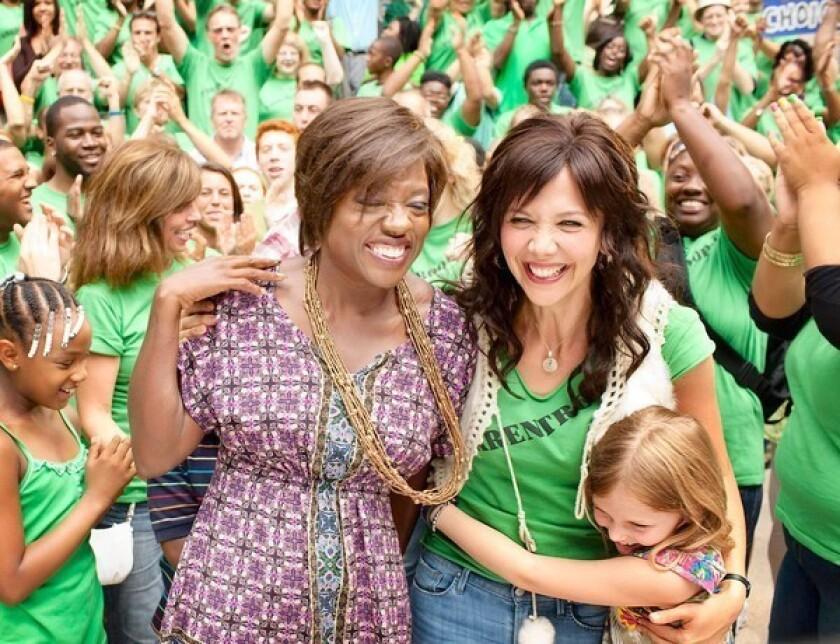 "Viola Davis, left, and Maggie Gyllenhaal star in ""Won't Back Down."""