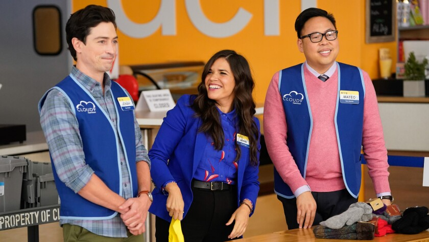 "Ben Feldman America Ferrera and Nico Santos in ""Superstore"" on NBC."