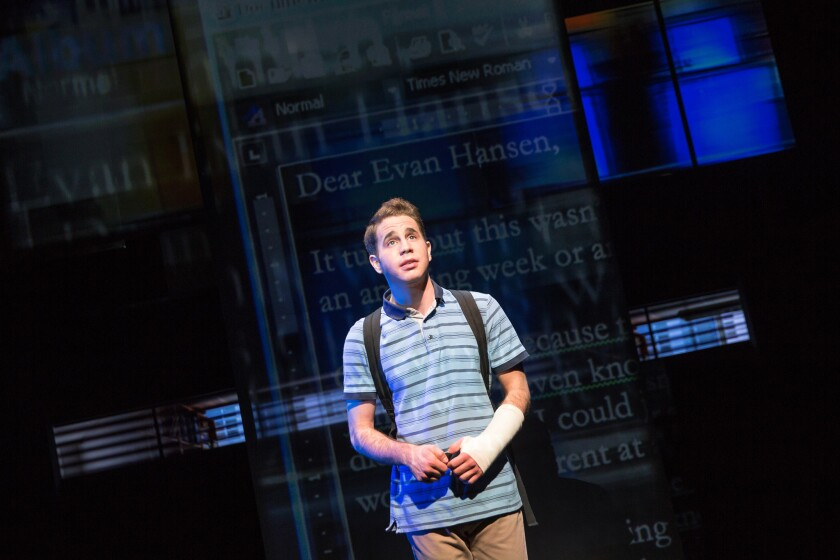 "Ben Platt portrays the title character in ""Dear Evan Hansen,"" seen here in its off-Broadway production at Second Stage."