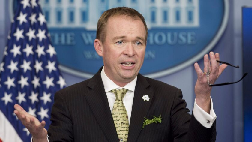 Office of Management and Budget director Mick Mulvaney discusses President Trump's budget during a daily briefing Thursday.