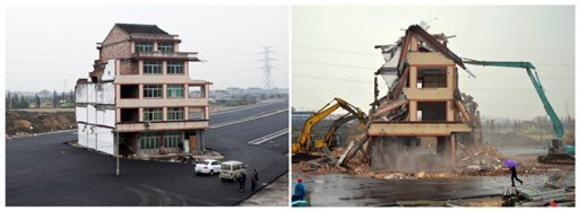 FILE - This photo combo shows the before-and-after of a house that was sitting in the middle of a new main road on the outskirts of Wenling city in east China's Zhejiang province. Authorities demolished the five-story home, Saturday, Dec. 1, 2012, that stood incongruously in the middle of the new main road and had become the latest symbol of resistance by Chinese homeowners against officials accused of offering unfair compensation. The homeowners had been the lone holdouts from a neighborhood that was demolished to make way for the main thoroughfare heading to a newly built railway station on the outskirts of the city. (AP Photo) CHINA OUT
