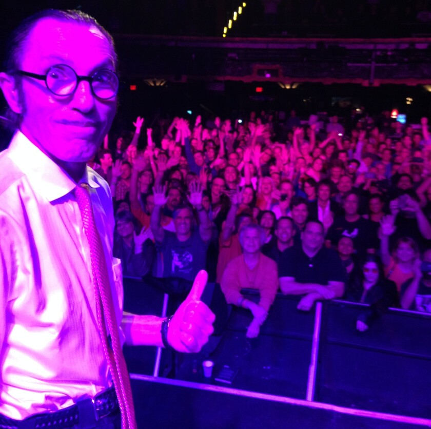 Ron Mael, songwriter and keyboardist of L.A. pop do Sparks, photographed by his brother, singer Russell Mael, at the end of their concert Monday at the Fonda Theatre in Hollywood.