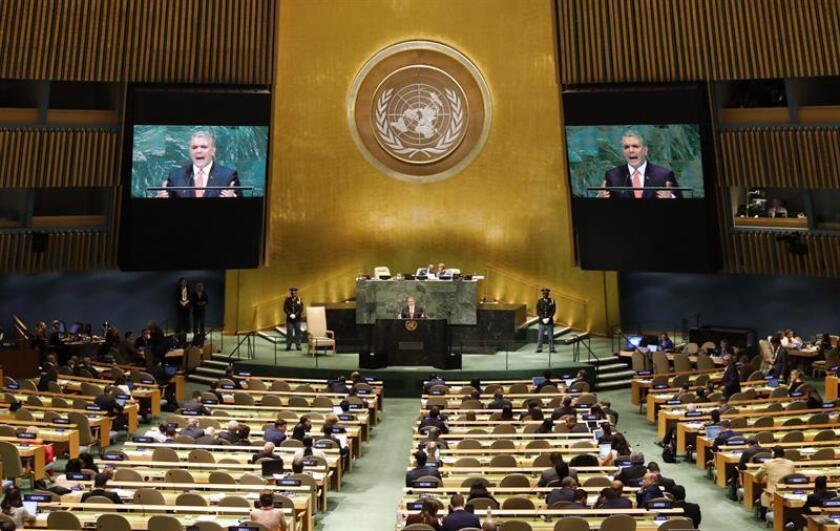 El presidente de Colombia, Iván Duque Márquez, pronuncia su discurso durante el 73 periodo de sesiones de la Asamblea General de Naciones Unidas (ONU), en la sede de la ONU en Nueva York, Estados Unidos. EFE