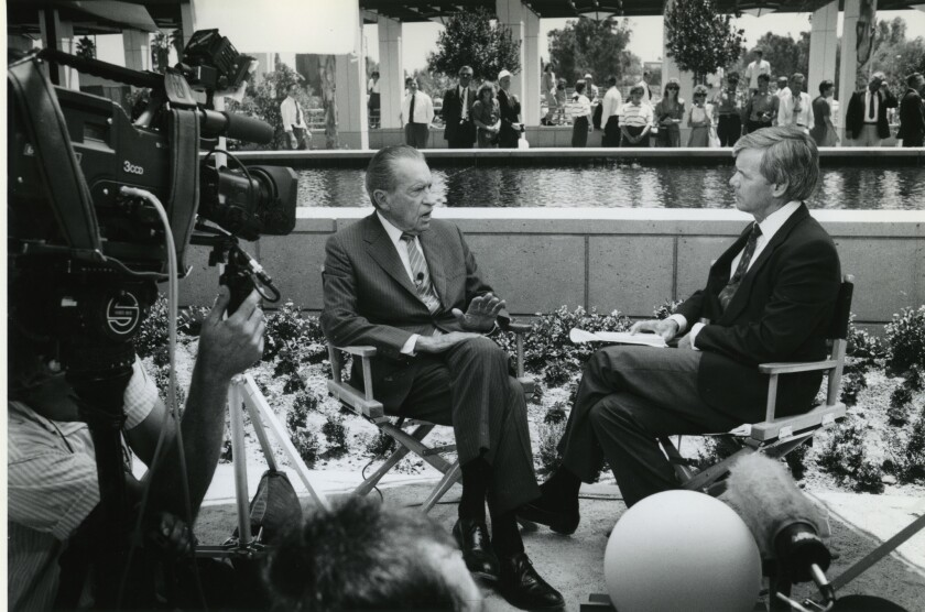 Former President Richard Nixon is interviewed by NBC's Tom Brokaw at the Nixon Library in Yorba Linda in 1990.