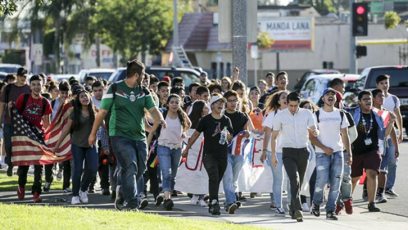 Students from several San Diego schools walked off campus to protest Donald Trump's election victory in November.