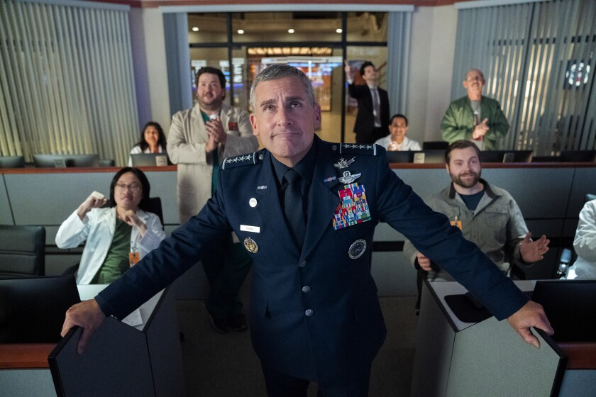 "Steve Carell, front, heads the cast of the new Netflix series ""Space Force."""