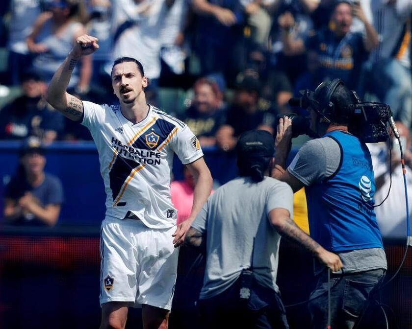 Los Angeles Galaxy Zlatan Ibrahimovic of Sweden reacts after tying the score at 3 apiece in second half action against Los Angeles Football Club at StubHub Center in Carson, California, USA 31 March 2018. EFE
