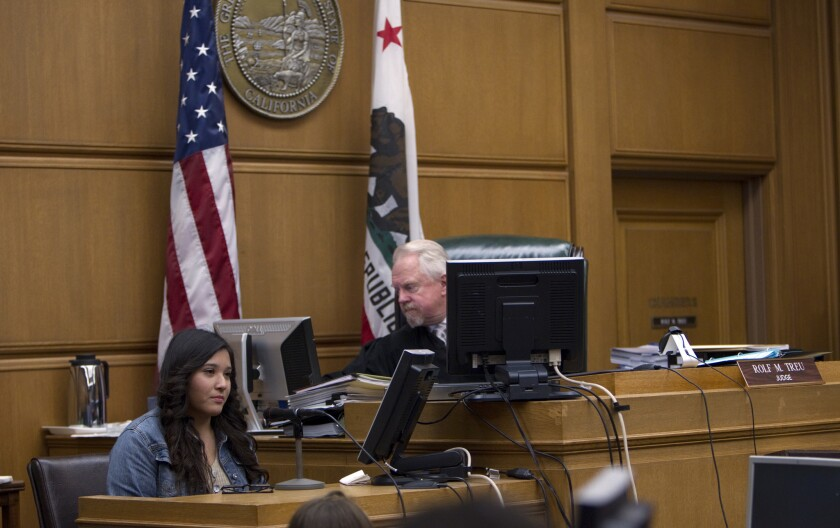 Student Beatriz Vergara, 15, testifies in the Vergara vs. California case with Judge Rolf Treu presiding in Los Angeles Superior Court.