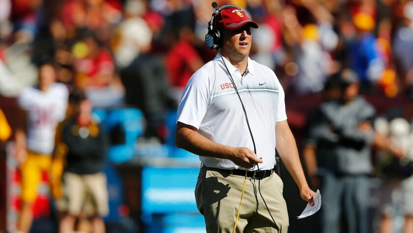 Coach Clay Helton and the Trojans will try to avoid a 1-3 start with a win at Utah on Friday night.