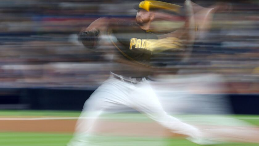 Padres pitcher Keith Hessler delivers against the Reds at Petco Park on July 29, 2016.