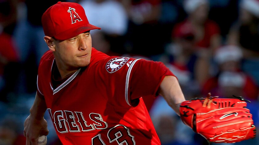 Angels starter Garrett Richards delivers a pitch during a game against the Minnesota Twins on June 25.