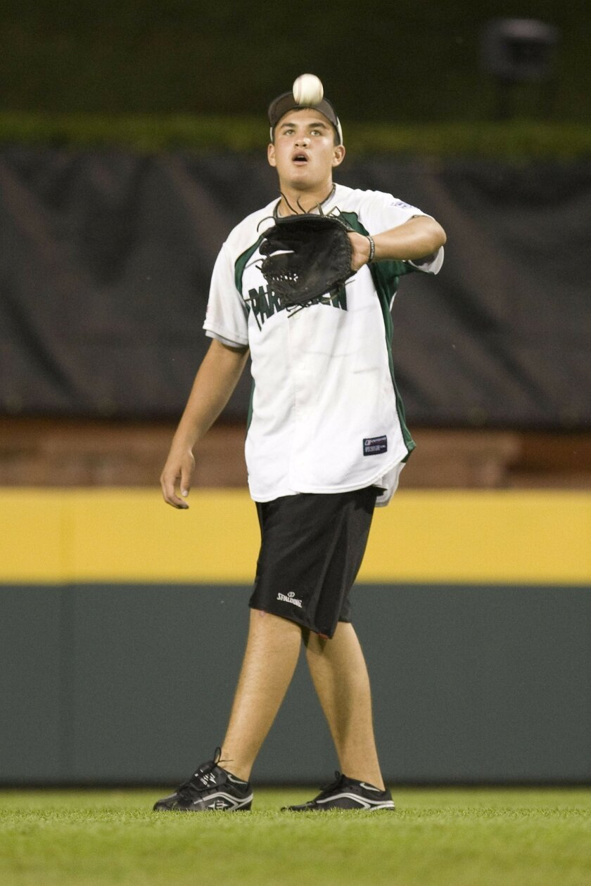 Park View Little Leaguer Luke Ramirez — all 6-feet-2, 200 pounds of him — is used to the ribbing opposing players give him. (John R. McCutchen / Union-Tribune)