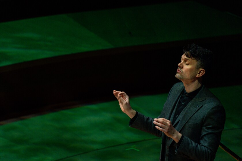 "Daníel Bjarnason conducts the L.A. Phil New Music Group in the world premiere Tuesday of Thuridur Jonsdottir's ""The CV of a Butterfly"" at Walt Disney Concert Hall."