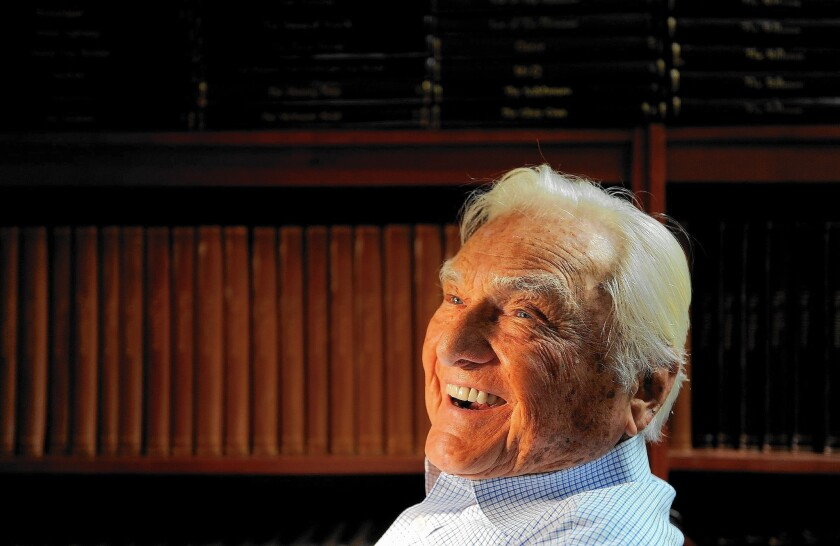 """Producer Arthur Gardner in his Beverly Hills office in 2012. """"I like to read scripts,"""" he said. """"I know we can't make anything anymore. I just love this business too much to go anywhere else in the morning."""""""