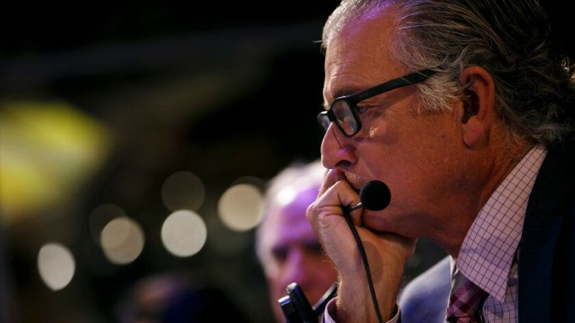 Mike Pereira watches a football game inside the  officiating command center at the Fox studios in Los Angeles on Nov. 20.