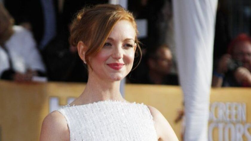 Jayma Mays arrives for the Screen Actors Guild Awards at the Shrine Auditorium on Jan. 27, 2013.