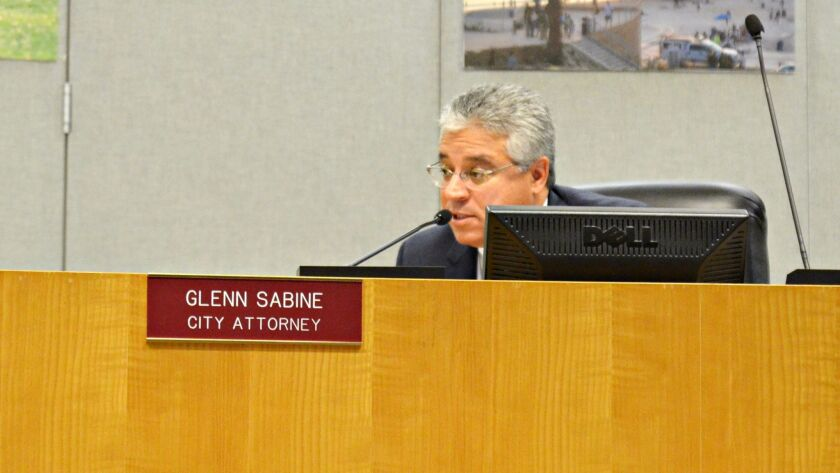Encinitas City Attorney Glenn Sabine advises the city council on Prop. 64 at the city council meeting Feb. 15.