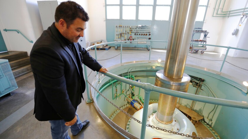Johnny Amaral of the Westlands Water District is shown at the Jones Pumping Plant near Tracy, Calif. Only one of six pumps was working Monday, depriving San Joaquin Valley farmers, in his view, or their rightful water allotments.