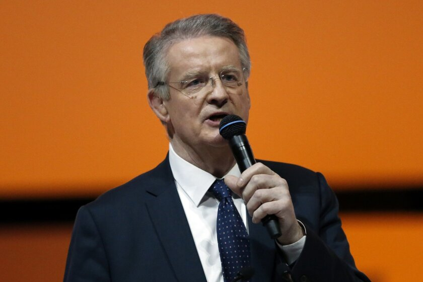 Bernard Lapasset, International Rugby Board Chairman and president of the French Committee for International Sports delivers his speech during the official presentation of Paris as candidate for the 2024 Olympic summer games in Paris, France, Wednesday, Feb. 17, 2016. Paris, which hosted the Olympi