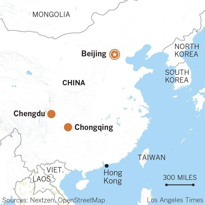 Chongqing China Map on