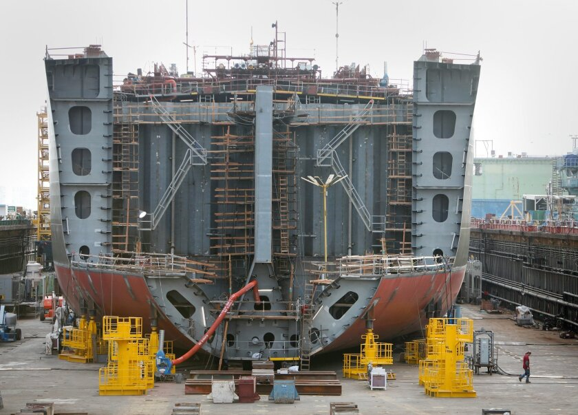 NASSCO workers are building APT-1, the first of five ships being constructed for American Petroleum Tankers.