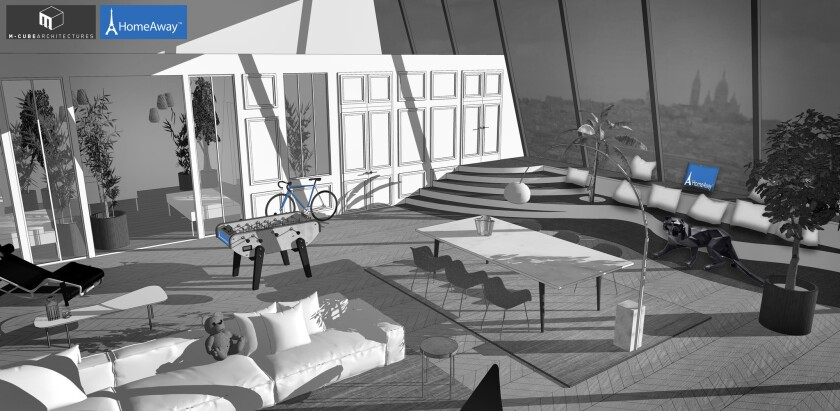 A rendering of what the temporary apartment inside the Eiffel Tower might look like.