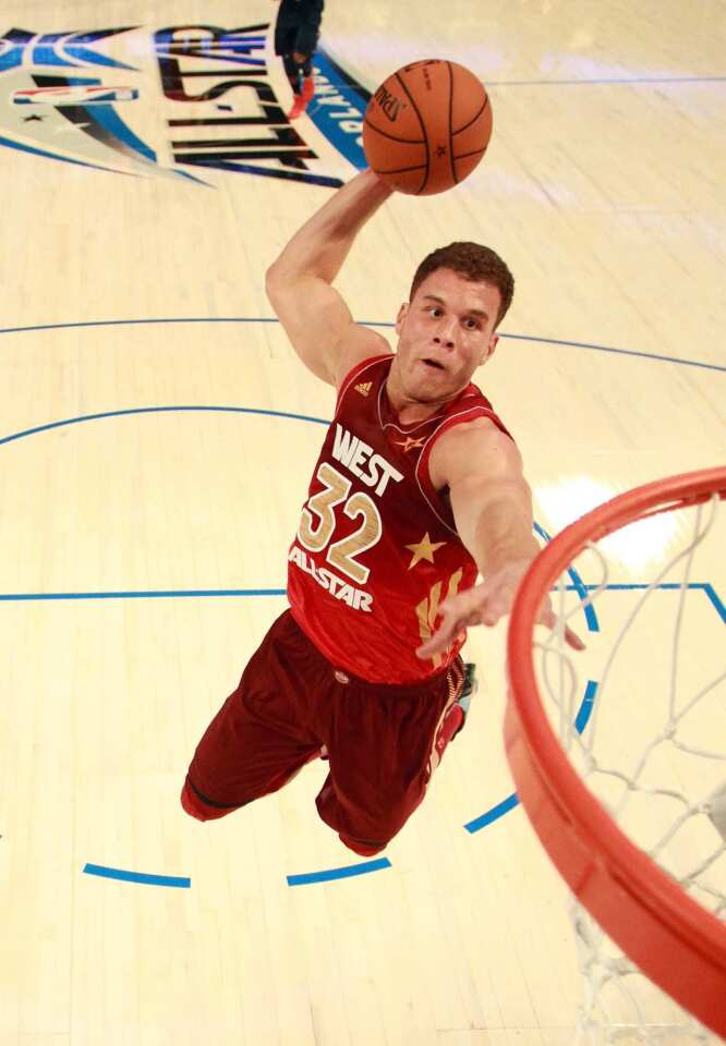West power forward Blake Griffin of the Clippers drives down the lane for a dunk against the East in the first half of the NBA All-Star gamem on Sunday at Amway Center in Orlando.
