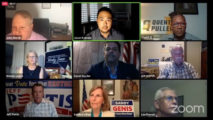Costa Mesa City Council candidates shared views before a virtual audience in a Sept. 23 Facebook forum.