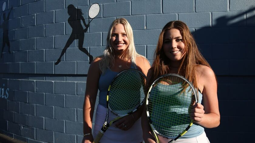 The doubles team of Kristina Evloeva Roxy MacKenzie of CdM girls' tennis are the Female Athletes of