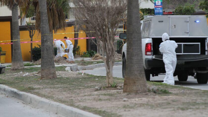 Investigators at a December homicide scene in URBI Quinta del Cedro, a development south of downtown Tijuana.