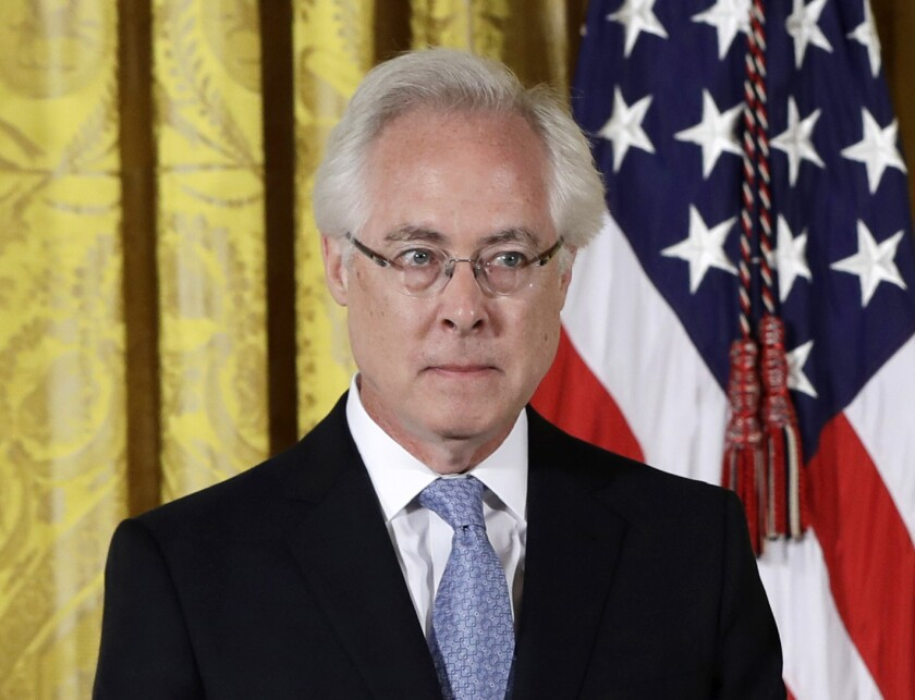 """FILE - Author Louis Menand appears at a ceremony honoring him with the 2015 National Humanities Medal in the East Room of the White House in Washington on Sept. 22, 2016. Menand's Cold War cultural history """"The Free World"""" is among the works on the nonfiction longlist for the National Book Awards. (AP Photo/Carolyn Kaster, File)"""