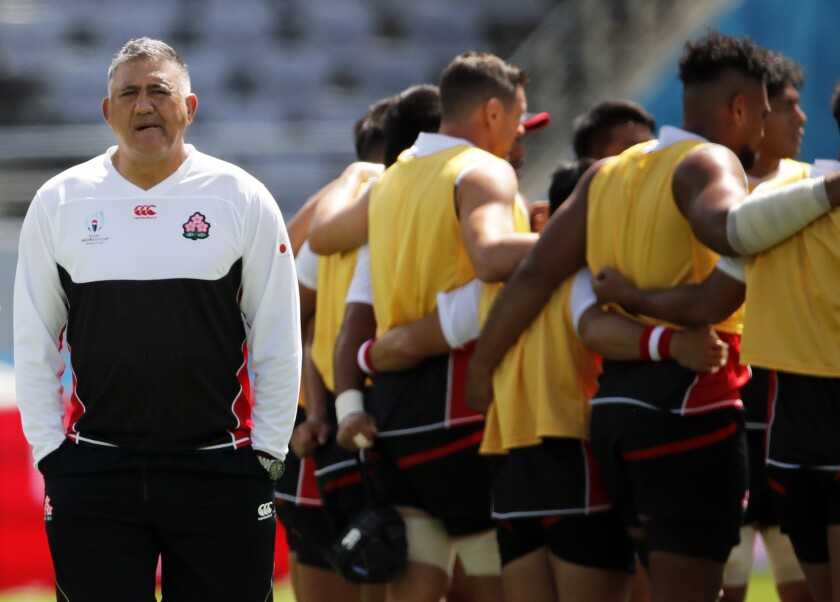 Japan's head coach Jamie Joseph supervises a training session in Tokyo, Japan, Thursday, Sept. 19, 2019. The Rugby World Cup starts Friday, Sept. 20, with Japan playing Russia, and ends with the final on Nov. 2. (AP Photo/Christophe Ena)