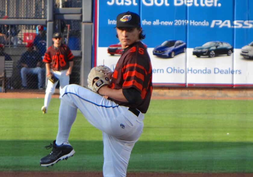 Eli Morgan pitches for the Akron RubberDucks in 2019.