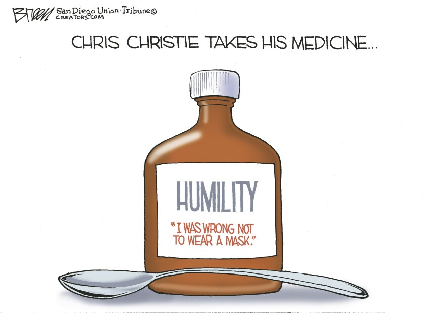 """The caption reads """"Chris Christie takes his medicine"""" and a medicine bottle of 'Humility' is shown in the cartoon"""