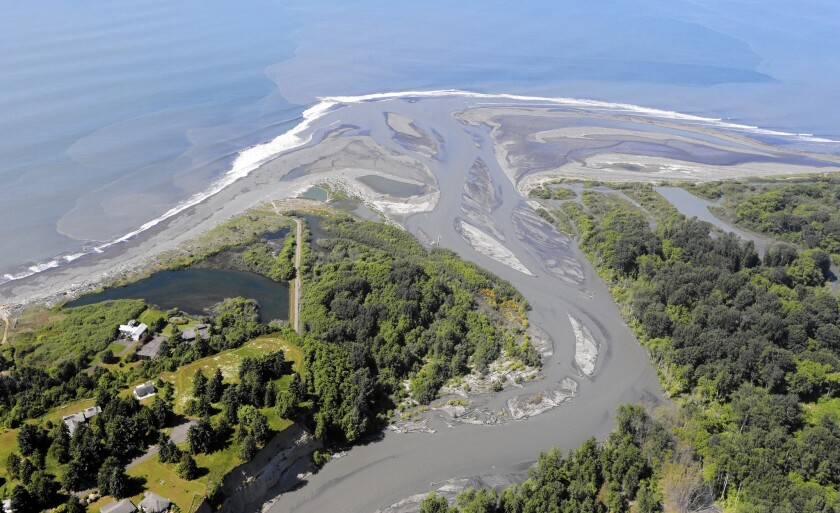 Sediment trapped by dams has been making its way down the Elwha River, pictured in June 2014, to the Strait of Juan de Fuca.
