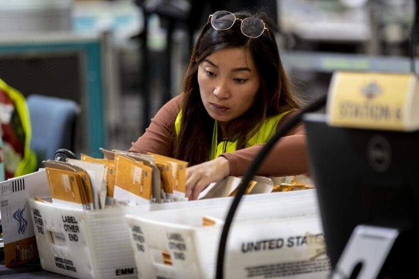 An election worker verifies signatures
