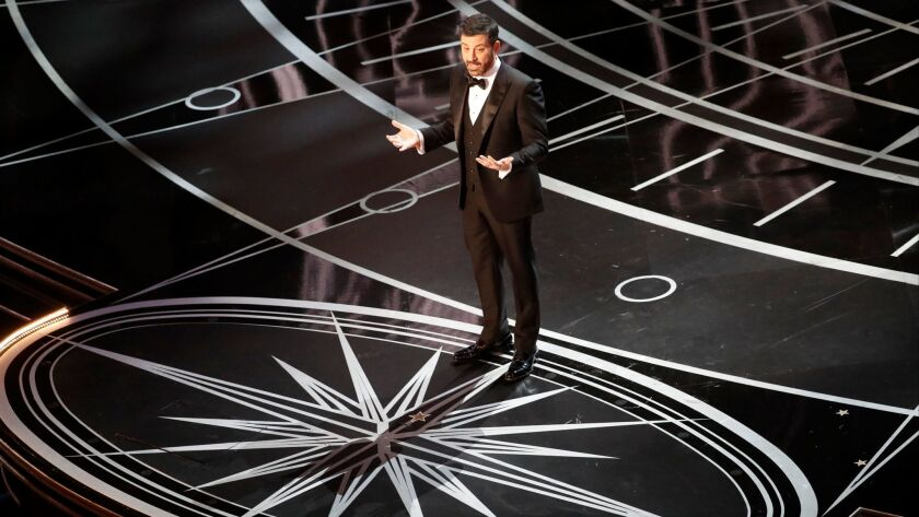 Jimmy Kimmel hosting the 89th Academy Awards in Hollywood's Dolby Theatre.
