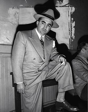 The sharply dressed Mickey Cohen as he appeared soon after his arrest by Lt. William Burns' antigangster squad. Note: Many of the photographs in this gallery were taken during the late 1940s and 50s.