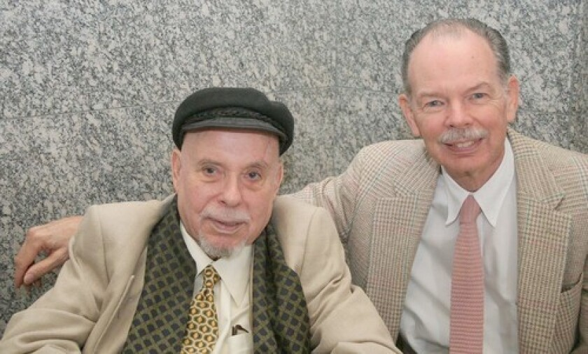 Simon Karlinsky, left, with husband Peter Carleton, was a professor emeritus of Slavic languages and literature at UC Berkeley, where he taught for nearly 30 years.