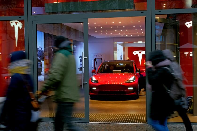 A Tesla dealership in Berlin.